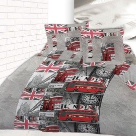 Housse De Couette 220 X 240 +2 Taies 60x60 Cm Trip To London Londres Microfibre