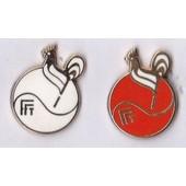 2 Pin�S Tennis Fft �mail Egf Blanc - Rouge, Sign�s Ballard Dor� � L�Or Fin