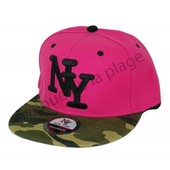 Casquette Snapback Ny Visi�re Plate Camouflage - Rose