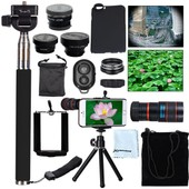 XCSOURCE� 8X Zoom Telescope Lens + Fisheye + Wide Angle + Macro + CPL Filter Lens + Monopod + Mini Phone tripod + Phone holder + Wireless Bluetooth Remote Control Self Timer + Case Cover Kit For iPhone 6 4.7