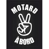Autocollant Sticker Macbook Laptop Voiture Moto Motard A Bord Salut Blanc