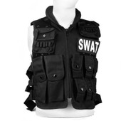Gilet Veste En Nylon Noir Pour Swat Tactique Combat Paintball Militaire Jungle