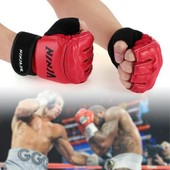 Ninja Paire Gants Mitaines Demi-Doigt Pour Boxe Combat Sac Frappe Muay Thai Mma