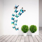 12pcs Sticker Mural Autocollant Papillon 3d Aimant Artificiel D�co Frigo Maison