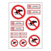 Planche A4 De Stickers D�jections Canines Interdites Autocollant Adh�sif - B44