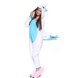 Maboobie Pyjama Combinaison Lingerie Nuit Costume De Deguisement Animal En Flanelle Pr Femme Homme Adulte Cosplay Licorne Bleu S (30-32)