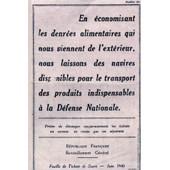 Ticket Rationnement Sucre De Juin 1940 ( Copie )