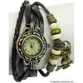 Montre Bracelet - Style Hippie Chic, R�tro, Vintage - Cuir Noir Tress� Avec Perles Et Breloque Chouette / Hibou (Cheapatleast)