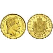 20 Francs 1865 Bb Napoleon Plaqu� Or Haut De Gamme