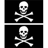 Set 2x Autocollant Sticker Macbook Laptop Voiture Moto Drapeau Pirate Flag