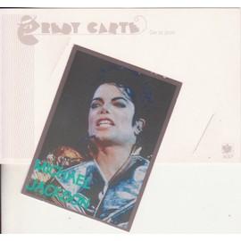 MICHAEL JACKSON carte photo 6.2x8.5 cm avec bio au verso + porte carte