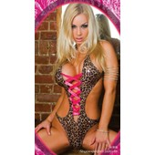Body Sexy Leopard Ensemble Lingerie Costume Sm Deguisement Lacet Rose Fluo Sex Toys