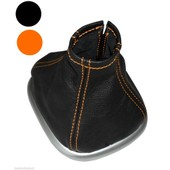 Aerzetix - Soufflet Levier De Vitesse En 100% Cuir V�ritable Coutures Oranges Pour Renault Sc�nic 2 2003-2009