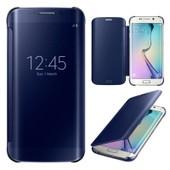 Samsung Galaxy S6 Edge Clear View Bleu Coque Housse Etui