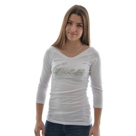 Tee Shirt Manches Longues Guess Jeans 3/4s Bn Guess Stones Tee Blanc