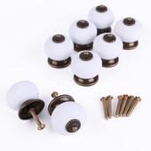 8x Poign�e Bouton 32mm C�ramique Blanc + M�tal Bronz� Pour Porte De Meuble Tiroir + Vis