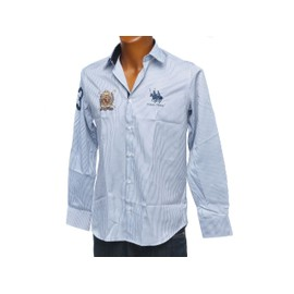 Chemise Manches Longues Frank Ferry Raye Ecusson Navy Bleu 47652
