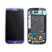 Ecran Lcd + Vitre Tactile + Chassis Pour Samsung Galaxy S3 I9300 Bleu