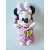 Doudou Peluche B�b� Minnie Disneyland Paris Couverture Rose Papillon 38 Cm
