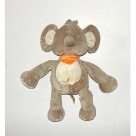 Kiki Koala Playkids Grand Modele Doudou Peluche Animal Play Kids Marron Beige Cr�me Foulard Bandana Orange 42 Cm