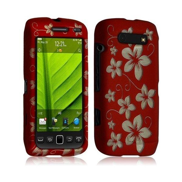 Housse Coque Rigide Compl�te Pour Blackberry Torch 9860 Couleur Rouge Avec Motif Fleur