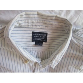 Chemise Abercrombie & Fitch Xl Blanche � Rayures Bleu