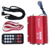 Amplificateur Ampli Pour Haut Parleur 2 Canaux 500w Voiture Auto Moto Rouge
