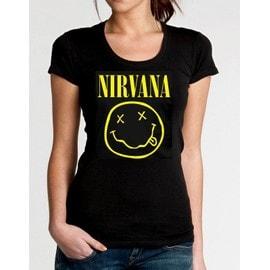 T-shirt nirvana noir pour femme XS S M L XL