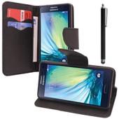 Samsung Galaxy A5 Sm-A500f A500h A500k/ A5 Duos Sm-A500f/Ds Sm-A500g/Ds A500m/Ds: Etui Portefeuille Livre Housse Coque Pochette Support Vid�o Cuir Pu + Stylet - Noir