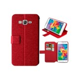 Etui/Housse Samsung Galaxy Grand Prime G530 - Coque Folio �co Cuir Ultra Fin + 2 Emplacements Cb - Rouge