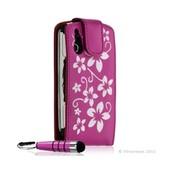 Housse Coque �tui Pour Sony Ericsson Xperia Play Motif Fleur Couleur Rose Fuschia + Mini Stylet + Film Protecteur