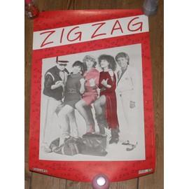 rare affiche 40x60cm groupe francais ZIG ZAG ( la bande a BASILE ) disques philips