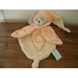 Doudou Plat Chien/Lapin Orange/Saumon Luminescent/Phosphorescent Imprim� �toiles Baby Nat