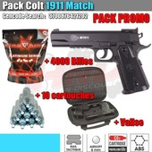 Pack Colt 1911 Co2 Match - 4000 Billes 0,25g - Valise - 10 Cartouches Co2