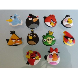 10 clips pins ANGRY BIRDS pour chaussure sabot crocs - NEUF