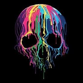 T-Shirt Femme Manches Courtes - T�te De Mort - 1257 - Melting Skull Fluo Multicolore