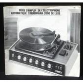 Mode D'emploi �lectrophone St�r�orama 2000 De Luxe
