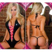 Body Sexy Noir Ensemble Lingerie Costume Sm Deguisement Lacet Rose Fluo Sex Toys Tu