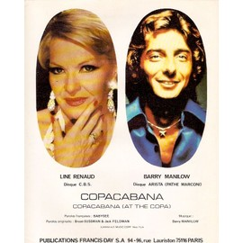 rare partition feuillet LINE RENAUD BARRY MANILOW copacabana