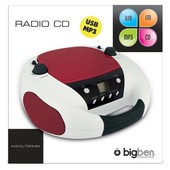 Lecteur Cd Radio Portable Mp3 Usb Rouge Et Blanc