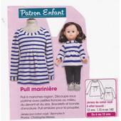Patron Couture Modes Et Travaux N� 389668 : Pull Marini�re En Jersey De Coton Ray�, �ge : 6, 8, 10, 12 Ans.