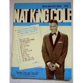 Memories of Nat King Cole ( 1962) ( A Great Selection of hit Songs/Songbook which includes words and music to 13 songs / Rare / 1962