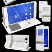 Ebeststar � Housse Coque Etui Smart View Cover Type S-View Portefeuille Livre Pour Sony Xperia Z3 Compact, Couleur Blanc + Film Protection D'�cran