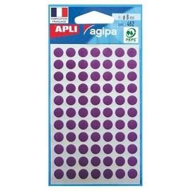 Apli-Agipa - �tiquettes Adh�sives Permanentes - Violet - Diam�tre 8 Mm 462 �tiquette(S) ( 6 Feuille(S) X 77 )