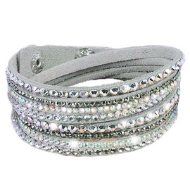 Bracelet Wrap Strass Brillant Slake En Cuir Gris
