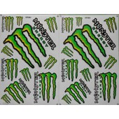 Planche Autocollant Stickers Monster Energy Vert 11 Pieces - Lot De 2