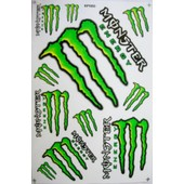 Planche Autocollant Stickers Monster Energy Vert - 11 Pieces