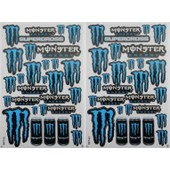 Planche Autocollant Stickers Monster Energy Bleu + De 20 Pieces - Lot De 2