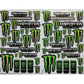 Planche Autocollant Stickers Monster Energy Vert + De 20 Pieces - Lot De 2, occasion