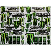 Planche Autocollant Stickers Monster Energy Vert + De 20 Pieces - Lot De 2